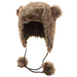 Supply of womens brown faux fur hat with ears and pom poms