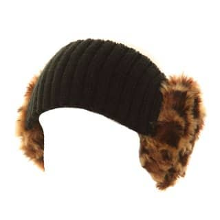 Wholesale womens knitted faux fur earmuff headband