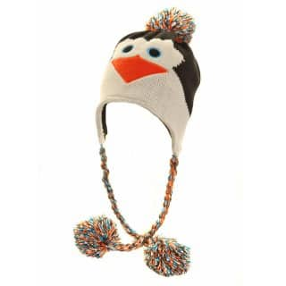 Womens novelty knitted peru hat with penguin design