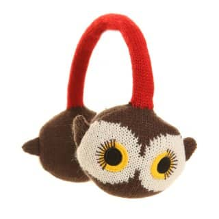 Wholesale adults knitted animal earmuffs in the style of an owl