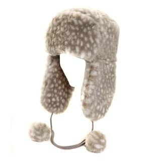 Wholesale ladies grey mottled faux fur trapper hat