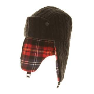 Wholesale black mens cable knit trapper hat