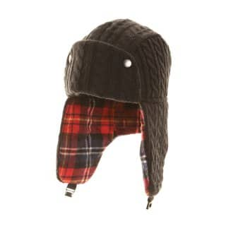 Wholesale navy mens cable knit trapper hat