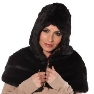 Luxury wholesale faux fur hood in black