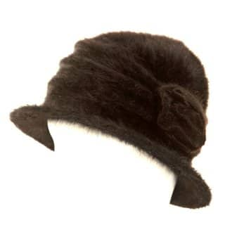 A902 - LADIES BLACK ANGORA CRUSHABLE HAT