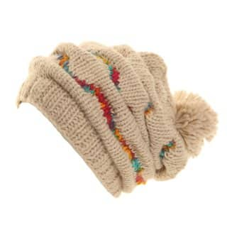 Wholesale ladies white gathered chunky bobble hat