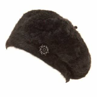 A912 - WHOLESALE  ANGORA BERET WITH BROOCH DETAIL