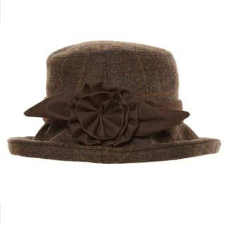 Wholesale womens tweed hat with bow and tweed trim