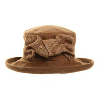 Wholesale dark tan wax hat with tweed bow
