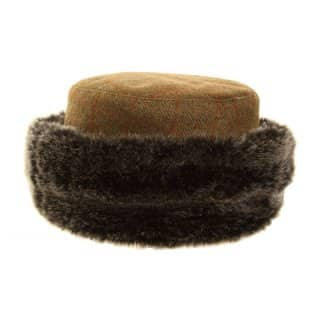 Wholesale ladies tweed hat with super soft fur trim in packs of twelve