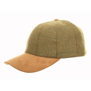 Wholesale green tweed baseball with faux suede peak