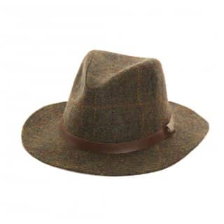 Wholesale green tweed fedora with faux leather band