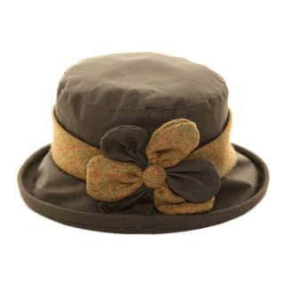 AE19OL-LADIES OLIVE WAX HAT WITH TWEED/FLOWER TRIM