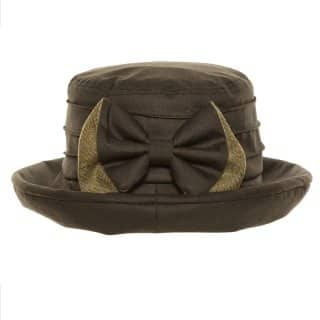 Wholesale ladies olive green wax hat with bow