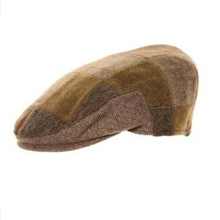 Wholesale brown mix patchwork flat cap