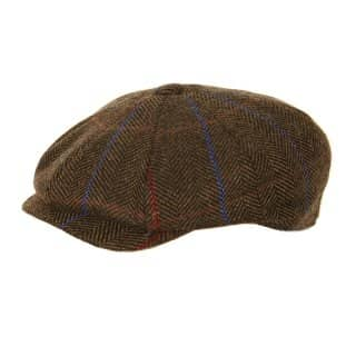 Wholesale brown unisex tweed 8 panel cap
