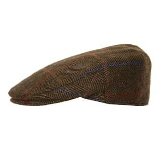 Wholesale brown mens tweed structured flat cap