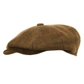 Wholesale olive unisex tweed 8-panel cap