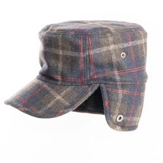 Wholesale mens checked hunting trapper cap with flaps down