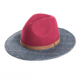 Wholesale ladies maroon wool felt fedora with tweed brim