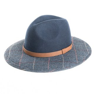 AE47 - LADIES NAVY WOOL FELT FEDORA WITH TWEED BRIM