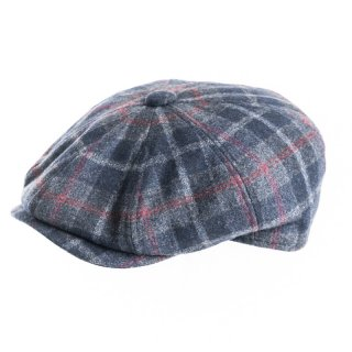 Wholesale blue mens checked 8 panel cap