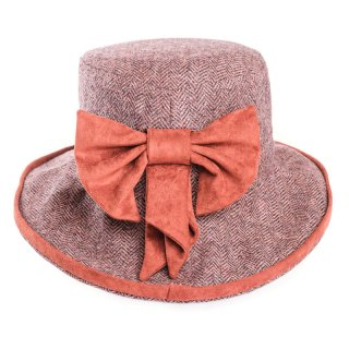 Rust coloured ladies tweed herringbone wide brim hat for purchase from hat supplier SSP Hats