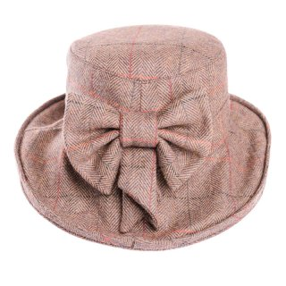 Brown ladies tweed herringbone wide brim hat for purchase from hat supplier SSP Hats