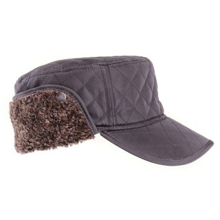Wholesale black mens quilted cap with fleece ear flaps