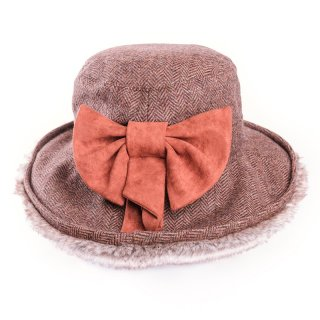 Bulk ladies tweed herringbone wide brim hat in packs of six
