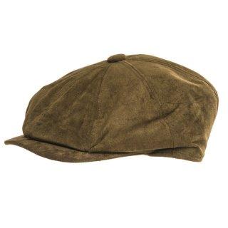 Wholesale rust 8 panel flat cap with faux suede peak for men