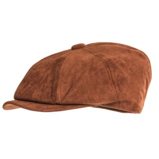 Wholesale brown 8 panel flat cap with faux suede peak for men