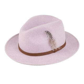 Wholesale light purple wool felt fedora with feather trim