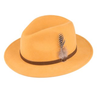 Wholesale ladies wool felt fedora with feather trim in yellow