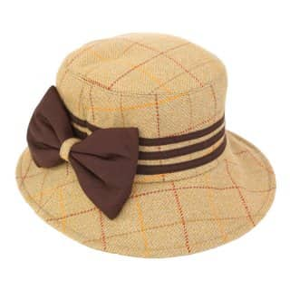 Wholesale wide brim hat with bow in light tweed
