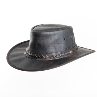 AK65M- Wholesale brown crushable soft leather hat with braided band in medium size