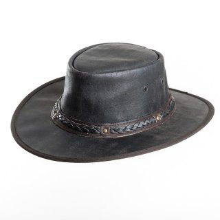 AK65S- Wholesale brown crushable soft leather hat with braided band in small size