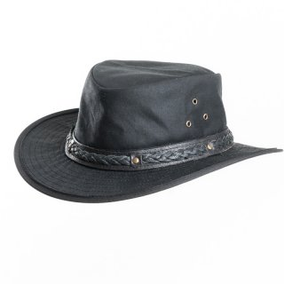 AK68M- Black oil skin wax hat with leather braided hat band in medium