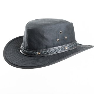 AK68S- BLACK OIL SKIN WAX HAT WITH LEATHER BRAIDED HAT BAND