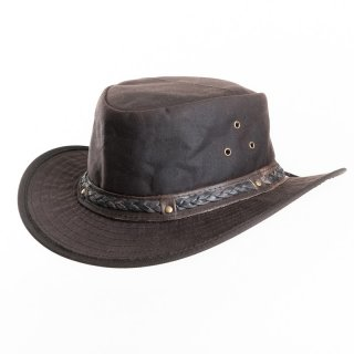 AK69L- BROWN OIL SKIN WAX HAT WITH LEATHER BRAIDED HAT BAND