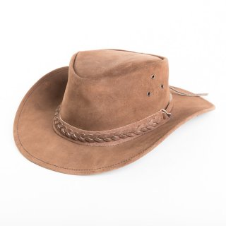 BROWN PLEATED SUEDE WITH BRAIDED HAT BAND/59CM