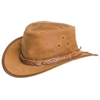 Wholesale tan oil skin wax hat with leather braided hat band in medium