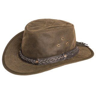 Wholesale olive oil skin wax hat with leather braided hat band in medium