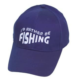 Wholesale baseball cap with novelty 'id rather be fishing' slogan in green