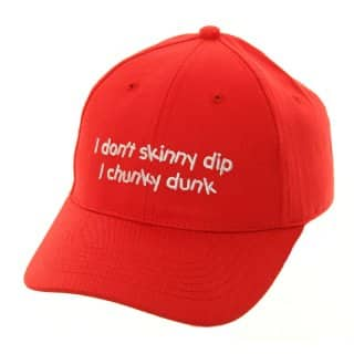 Wholesale baseball cap with novelty 'i don't skinny dip' slogan in red
