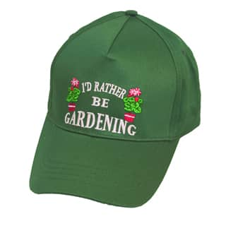 Wholesale baseball cap with novelty 'Gardening' slogan in green