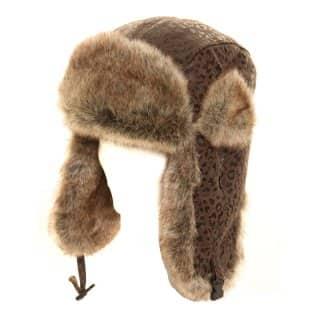 WOMEN'S BROWN ANIMAL PRINT TRAPPER HAT