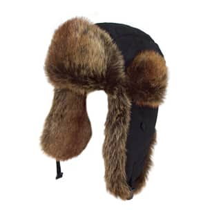 BLACK FUR TRIM TRAPPER