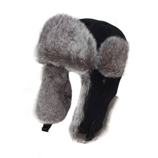 Wholesale black leather look trapper with grey fur trim
