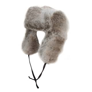 Wholesale fake fur trapper in grey